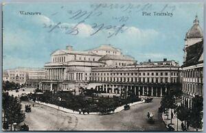 WARSAW-POLAND-PLAC-TEATRALNY-WARSZAWA-1918-ANTIQUE-POSTCARD