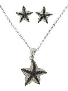 jewelry-set-cz-star-fish-pendant-earring-sealife-gold-plate-2-pc-white-black-NWT