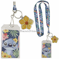 Disney Lilo & Stitch Hawaii Watercolor ID Holder Pin Lanyard W/ Hibiscus Charm