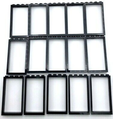 Lego 20 New Black Windows 1 x 4 x 3 with Transparent Clear Glass Town City Parts