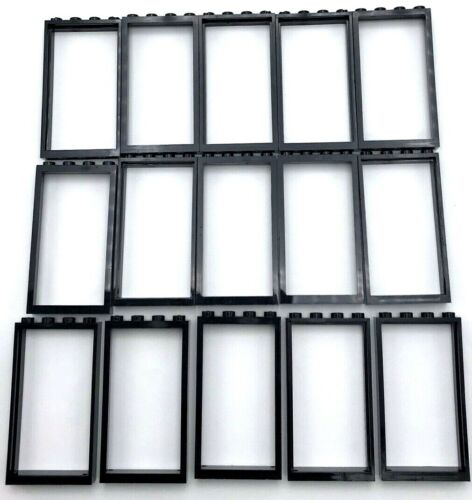 Lego 15 Noir Neuf Porte Fenêtre Cadres 1 x 4 x 6 Ville Maison Non Verre Pièces