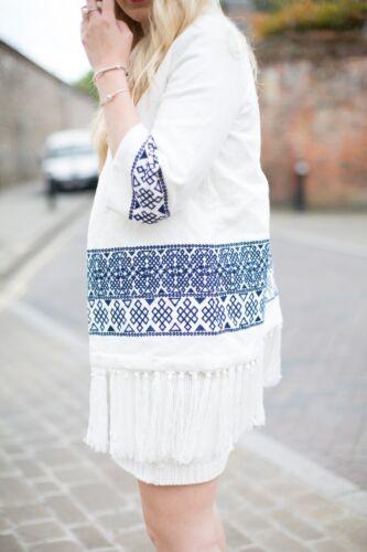 Blogger Zara Taglia Kimono Piccolo 8 Bianco Blu Ricamato Kimono Regno S Unito w7BwnqSgHx