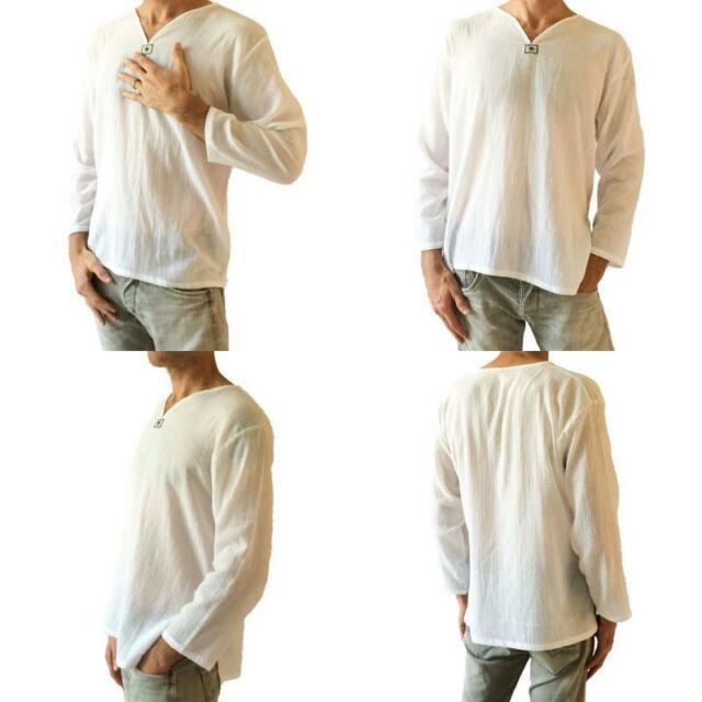 2d42dd572ba T-shirt 100 Cotton Thai Hippie Shirt V-neck Men s Summer Beach Yoga ...