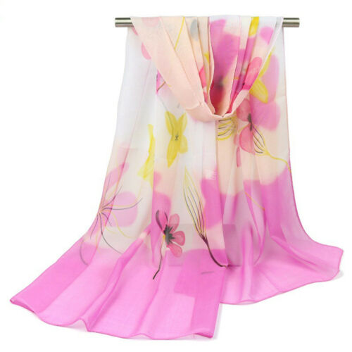 New Women Long Soft Scarf Ladies Chiffon Shawl Flower Printed Stole Scarves Wrap