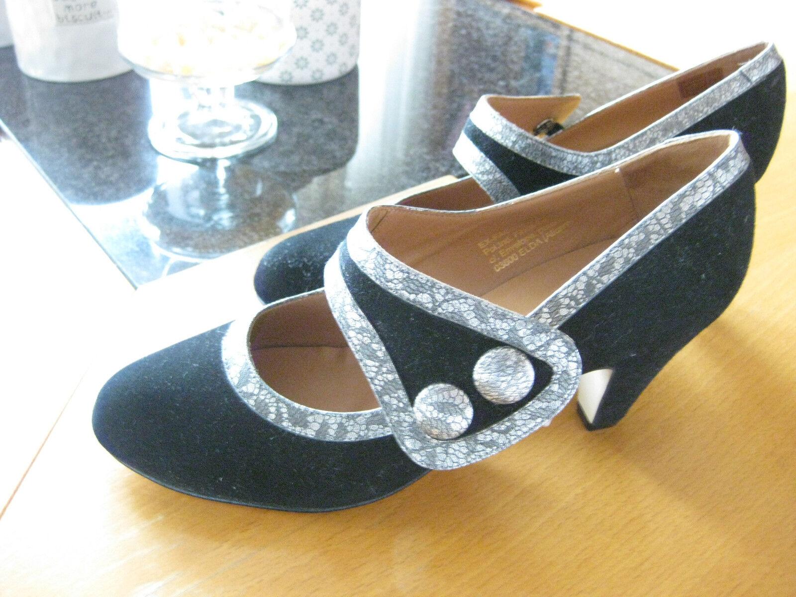 Sehr hochwertige Schuhe Gennia NEU schwarz mit Silber NP Leder innen