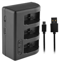 3-slots Channel Usb Battery Charger W/ Cable For Gopro Hero5 Ahdbt-501 Batteries