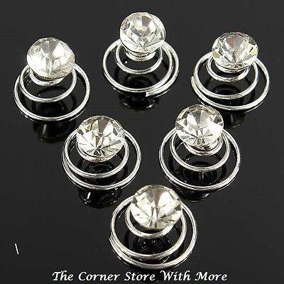 10 Hairpins Faux Crystal Clear Solitaire Spiral Hair Pins WeddingBridal Deb Coil