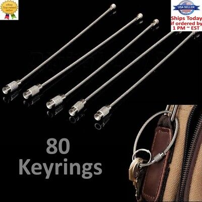 40Pcs Lightweight Cable Wire Loop Luggage Tag Key Chain Ring Screw Lock