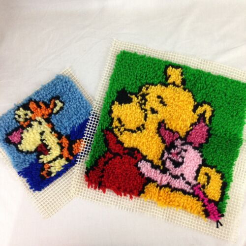 Set Of Two Caron International Winnie the Pooh Piglet Tigger Latch Hook Panels