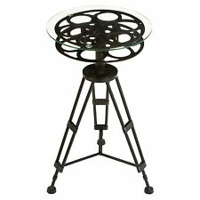 Deco 79 Metal Glass Accent Tripod Table Movie Reel with Clear Glass Top New