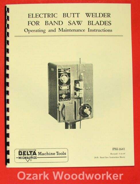 "Delta//Rockwell 20/"" Band Saw Owners Service Manual Parts Lists Schematics etc."