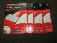 Lot Of 4 X 3m 3500-a Address Labels Clear Size 1 X 2 5/8 1200 Labels Inkjet