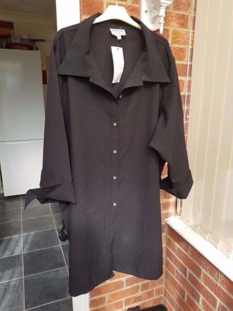 Ladies Black Knee Length Shirt, 3/4 Sleeves, Size XXL(Bust 36/38