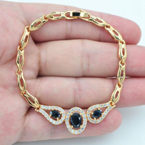 18K Gold Filled Crystal Mystique Topaze Noir Ovale Obsidienne Gems Bracelet Bijoux