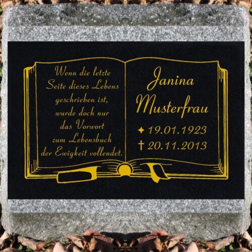 GRANIT Grabsteine Grabplatte Bücher offenes Buch-g01 ►farbige Textgravur◄ 50x30