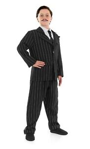 Vestido Elegante Conjunto Gomez Addams Familia 3pc Kit Traje de Disfraz para niños chicos