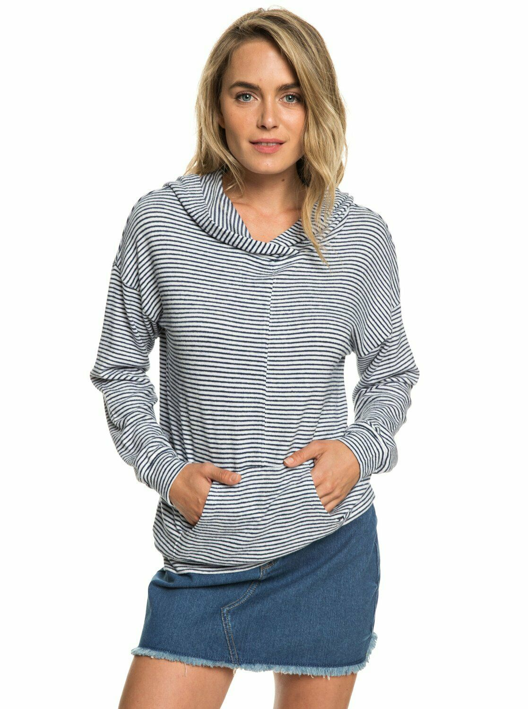 Roxy damen Sandy Coast Stripe Hooded Shirt Top - Dress Blau Cosy Stripes