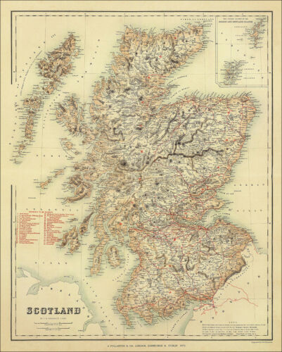 a map by Fullarton 1872 Scotland /& its Railways 1872 enlarged reproduction