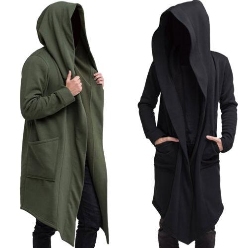 Mens Coat Hooded Cardigan Jacket Long Sleeve Top Outwear Casual Warmer Winter