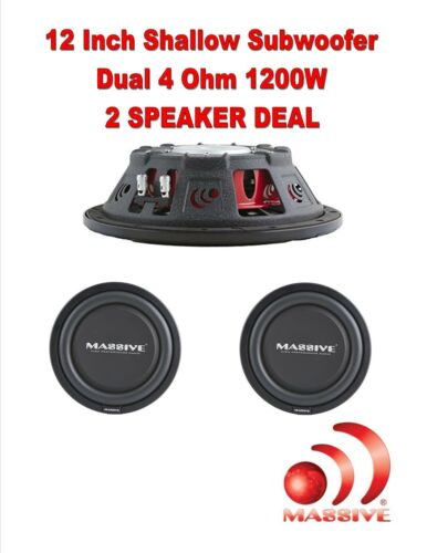 "PAIR MASSIVE 12/"" HIGH POWER LOW PROFILE CAR TRUCK 1200 WATTS SHALLOW SUB WOOFER"