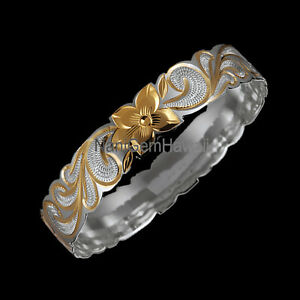 Image Is Loading Hawaiian Bangle Bracelet Plumeria Engraving 925 Sterling Silver