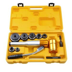 6 Dies 6 Ton Hydraulic Knockout Punch Driver Kit Hand Pump Hole Tool 11-gauge