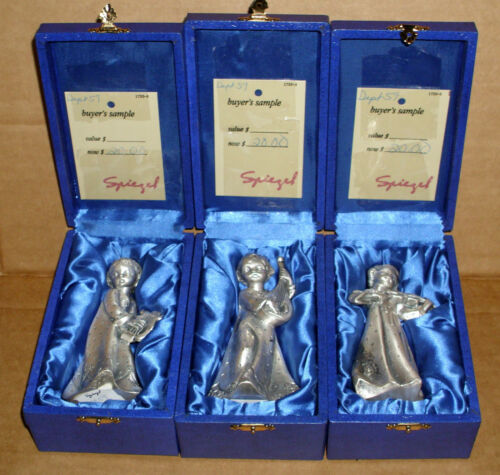 1970's PELTRO ITALY COLLECTION OF 3 GIRL PEWTER FIGURINES IN ORIGNAL BOXES!