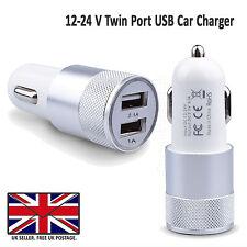 2 in 1 LED Universale USB 12-24v Dual Caricatore Auto Presa Sigaretta Accendino Argento