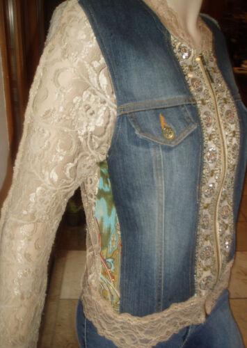 dentelle Cache 169 beige magnifique et de jean de en bleue ornée Msrp Veste paillettes BqTT7