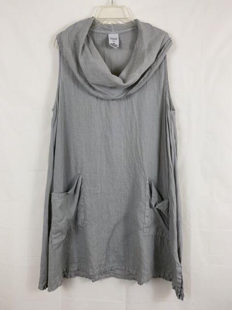 Match Point 100% Linen Lagenlook Pocket Tunic Sleeveless Gray Women's Medium