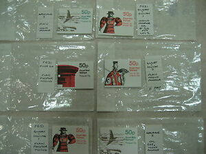 COLLECTION 6 FOLDED BOOKLETS MISSING PHOS PHOSPHOR ERROR MISTAKE CA £198