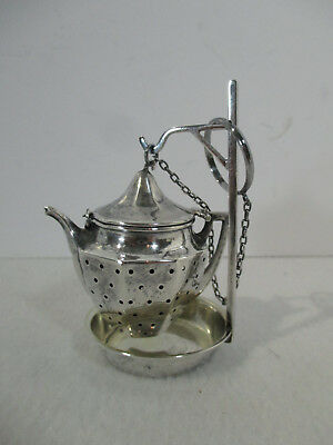 Sterling Silver Tea Strainer Webster Figural Teapot Stand Antique Caddy Marked