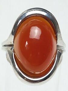 Vintage-Silber-Ring-grosser-Karneol-besetzt-punziert-925-Hersteller-Punze-RG-55