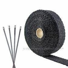 BLACK FIBERGLASS ATV SMALL ENGINE MOTORCYCLE EXHAUST PIPE WRAP TAPE THERMO B125K
