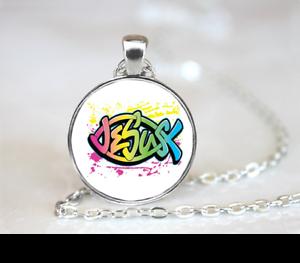 Neon Jesus PENDANT NECKLACE Chain Glass Tibet Silver Jewellery