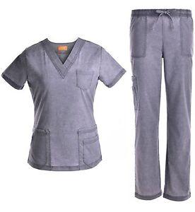 e0e47e5bdb0 Medical Scrubs Denim Washed Stretch Set V-Neck Top w/ Pants Pewter ...