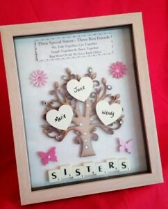 Sister Personalised Birthday Gift Frame Picture Tree Keepsake