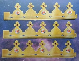 3 Burger King Crown Paper Hat From Usa Collectible BK B K Shipped in a Box three