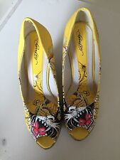 Ed Hardy Shoes Size 9  Wedges Platform Yellow Color Printed.