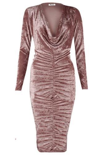 Mega Vente Femmes Stars Look Designer Velours Fête Soirée Froncé Robe
