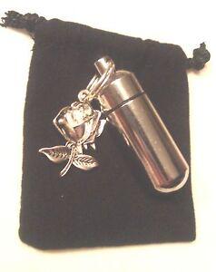 Beautiful-Silver-Rose-ANOINTING-OIL-HOLDER-Locket-amp-Velvet-Pouch