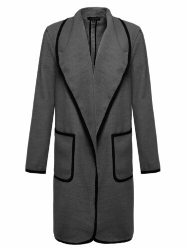 LADIES WOMENS SHAWL COLLAR JACKET CELEB INSPIRED FRONT POCKETS DUSTER COAT 10-14