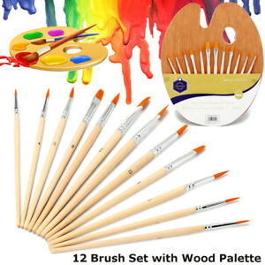 12-Paint-Brush-Oil-Watercolor-Acrylic-Artist-Painting-Craft-Wood-New