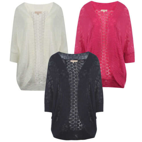 Womens Plum Tree Grace Lace 3//4 Sleeve Ladies Batwing Floral Cardigan Size S-L