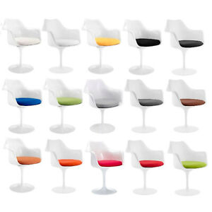 White-Tulip-Flower-Style-Dining-Arm-Chair-9-Cushion-Colors-Fabric-Or-Vinyl