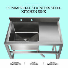 1 Compartment Utility Sink Stainless Steel Prep Sink W Drain Board Kitchen Sink