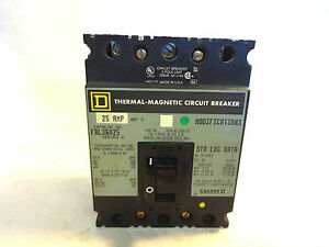 NEW SQUARE D FAL36025 3 POLE 25 AMP CIRCUIT BREAKER WITH SCREWS