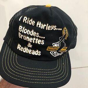 Image is loading RARE-Vintage-HARLEY-DAVIDSON-034-I-Ride-Blondes- 1b3543f8d4c4
