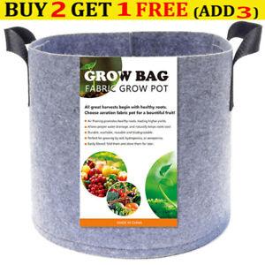 Hydroponics Fabric Root Pots For Smart Plant Grow Pot Bags 1-20Gallon Gray AU