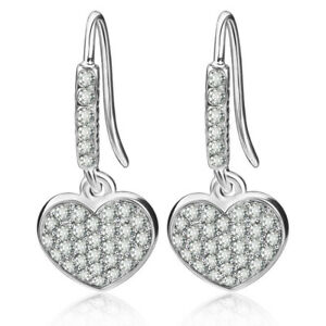 eeea42180 Image is loading Diamante-Crystal-Rhinestone-Love-Heart-Ear-Stud-Dangler-